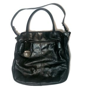 Marc Jacobs Black Leather Push Lock Purse Bag